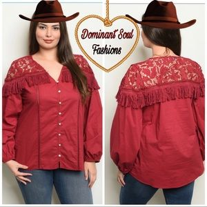 Tops - Tassel Lace Button up / Down Plus Size Shirt Top